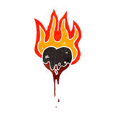 Flaming black heart cartoon Royalty Free Stock Image