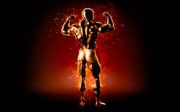 Flaming bodybuilder posing over black background. 3D illustration.  Stock Photo