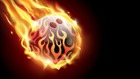 Flaming bowling ball on black background.Tv size banner. Vector clip art illustration Stock Photography