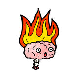 Flaming brain cartoon Royalty Free Stock Photos