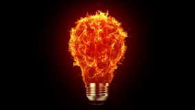 Flaming bulb stock footage