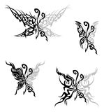 Flaming butterflies. Tattoo with abstract flaming butterflies Stock Photos