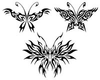 Flaming butterflies. Tattoo with abstract flaming butterflies Royalty Free Stock Photos