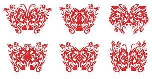 Flaming butterfly set Stock Photography