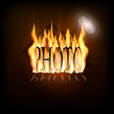 Flaming camera logo. Logo for the photographer with a picture of a flaming camera Stock Photos