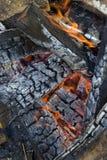 Flaming campfire royalty free stock photography