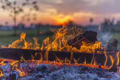 Flaming campfire and Ohio sunset Stock Images