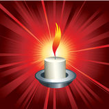 Flaming candle. On red background royalty free illustration