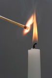 Flaming candle. Close up of flaming candle Royalty Free Stock Photography