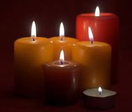 Flaming candles. Some flaming candles close up Stock Photography