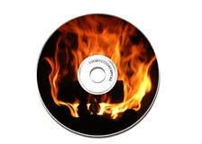 Flaming CD. A bonfire on a CD Stock Photos