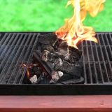 Flaming charcoal and BBBQ Grill Royalty Free Stock Images