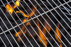 Flaming Charcoal Grill Stock Images