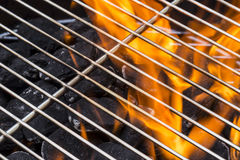 Flaming Charcoal Grill Stock Photography