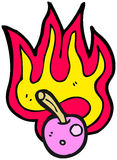 Flaming cherry cartoon Stock Photography