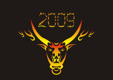 Flaming chinese ox. Vector illustration stock illustration