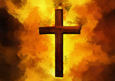 Flaming Christian Cross Royalty Free Stock Image