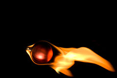 Flaming Christmas Ornament Stock Photo