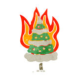 flaming christmas tree retro cartoon Royalty Free Stock Photo