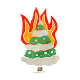 flaming christmas tree retro cartoon Royalty Free Stock Image