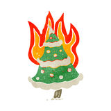 flaming christmas tree retro cartoon Stock Images