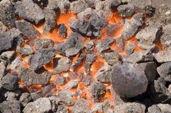 Flaming coal. Close-up shot of a furnace with hot flaming coal Royalty Free Stock Photo