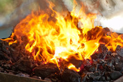 Flaming coals for the barbecue Royalty Free Stock Photos