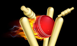 Flaming Cricket Ball Hitting Wicket Stumps. A flaming cricket ball on fire hitting wicket stumps vector illustration