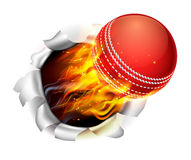 Flaming Cricket Ball Tearing a Hole in the Background Stock Photography