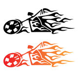 Flaming Custom Chopper Motorcycle Logo. Hot looking flaming cruiser motorcycle logo, clean lines, in black and color Stock Images