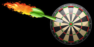 Flaming dart and board Stock Images
