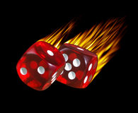 Flaming dice Royalty Free Stock Image