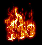 Flaming Dollars Stock Photography