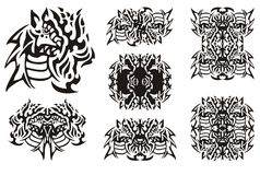 Flaming dragon symbols in tribal style Stock Photography