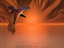Flaming Eagle. Surreal flaming eagle in a surreal sunset Royalty Free Stock Photography