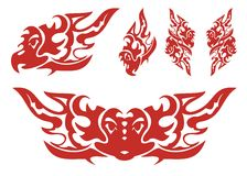 Flaming eagle symbols. Set of eagle symbols in the fire form. Red on the white stock image