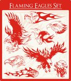 Flaming Eagle Vector Illustrations Set Stock Photo