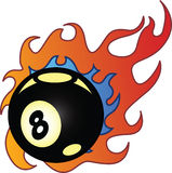 Flaming Eightball vector illustration Stock Photos
