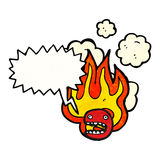 Flaming emoticon face cartoon (raster version) Stock Images
