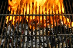 Flaming Empty BBQ Grill Stock Images