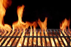 Flaming Empty BBQ Grill Close-up Royalty Free Stock Photography
