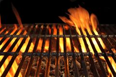 Flaming Empty BBQ Grill Close-up royalty free stock images
