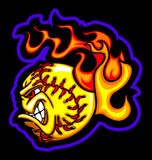 Flaming Fastpitch Ball Face Vector Image vector illustration