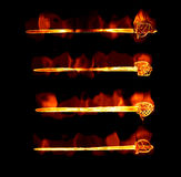 Flaming fiery swords. Great image of four fiery or flaming swords Royalty Free Stock Image