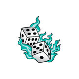 Flaming on fire burning white dice risk taker gamble  art. Illustration Stock Images