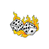 Flaming on fire burning white dice risk taker gamble  art Royalty Free Stock Photo