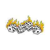 Flaming on fire burning white dice risk taker gamble  art Stock Photos