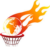 Flaming fire globe Stock Photos