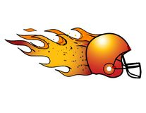 Flaming Football Helmet! Vector. Royalty Free Stock Image