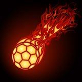 Flaming football (soccer). Ball falling Stock Photo